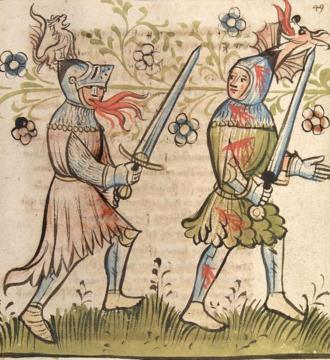 Þiðreks saga - Duel between Dietrich and Siegfried. Alsace, 1418.