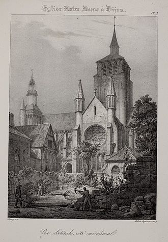 Church of Notre-Dame of Dijon - Notre-Dame de Dijon: early 19th-century view of the south side, showing the former tower