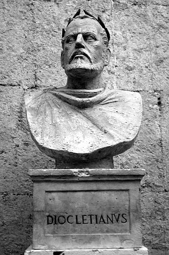 Codex Gregorianus - Modern bust of Diocletian in his palace at Split, Croatia.