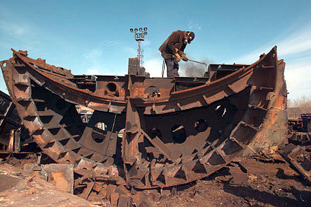 Disassembly of a Soviet submarine in Severodvinsk, as part of the Nunn-Lugar Cooperative Threat Reduction Program Disassembling of a Soviet submarine.jpg