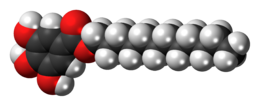 Space-filling model of the dodecyl gallate molecule