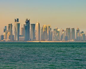 Doha skyline in the morning (12544910974).jpg