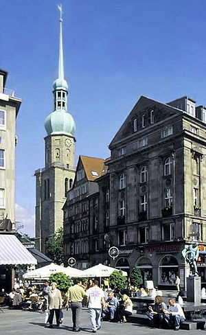 History of the Ruhr - Historic cobbles – in Dortmund, on the Old Market, two medieval trade routes meet at the tower of St. Reinold's Church