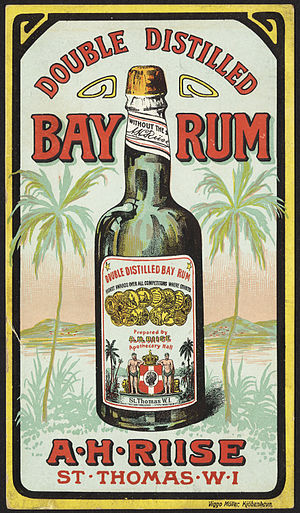 Bay rum - 19th century trade card, showing bay rum from St. Thomas.