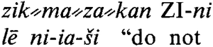 Double hyphen - Image: Double oblique hyphen used in a Hittite dictionary