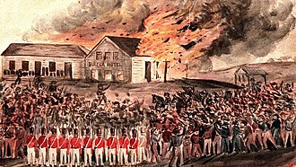 Eureka Rebellion - Burning of Bentley's Hotel sketched by Charles Doudiet