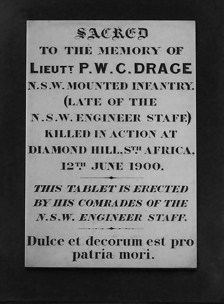 Memorial to Lieutenant P. W. C Drage who fell in the Battle of Diamond Hill. In St James' Church, Sydney. Drage memorial (1900).jpg