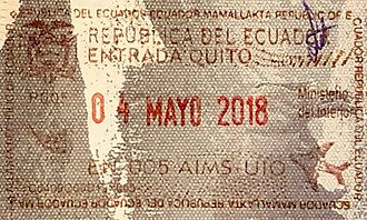 Visa policy of Ecuador - Image: Ecuador Entry Passport Stamp, 2018