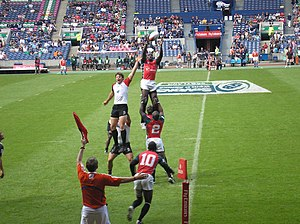 Rugby union in Kenya - The Kenya national sevens team in action during a lineout in the 2008 Edinburgh Sevens
