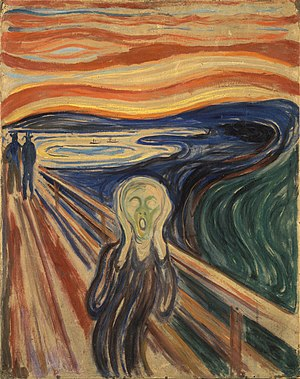 "Angst - Edvard Munch tried to represent ""an infinite scream passing through nature"" in The Scream (1893)."