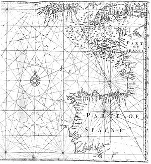"History of the Azores -  English mathematician and cartographer Edward Wright's map ""for sailing to the Isles of Azores"", showing loxodromes or rhumb lines"