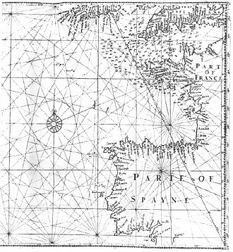 """History of the Azores -  English mathematician and cartographer Edward Wright's map """"for sailing to the Isles of Azores"""", showing loxodromes or rhumb lines"""