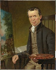 Portrait of Edward Hicks Painting the Peaceable Kingdom