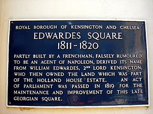 William Edwardes, 2nd Baron Kensington - Edwardes Square sign, London W8, named after Lord Kensington.