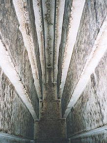 Detail of the massive corbel-vaulted ceiling of the main burial chamber