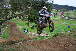 Enduro - E2 bike jumping in Arratzu, Spain.