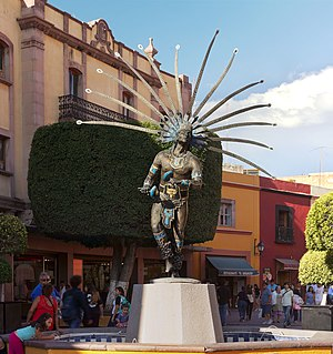 Querétaro City - Statue of an traditional dancer in downtown.