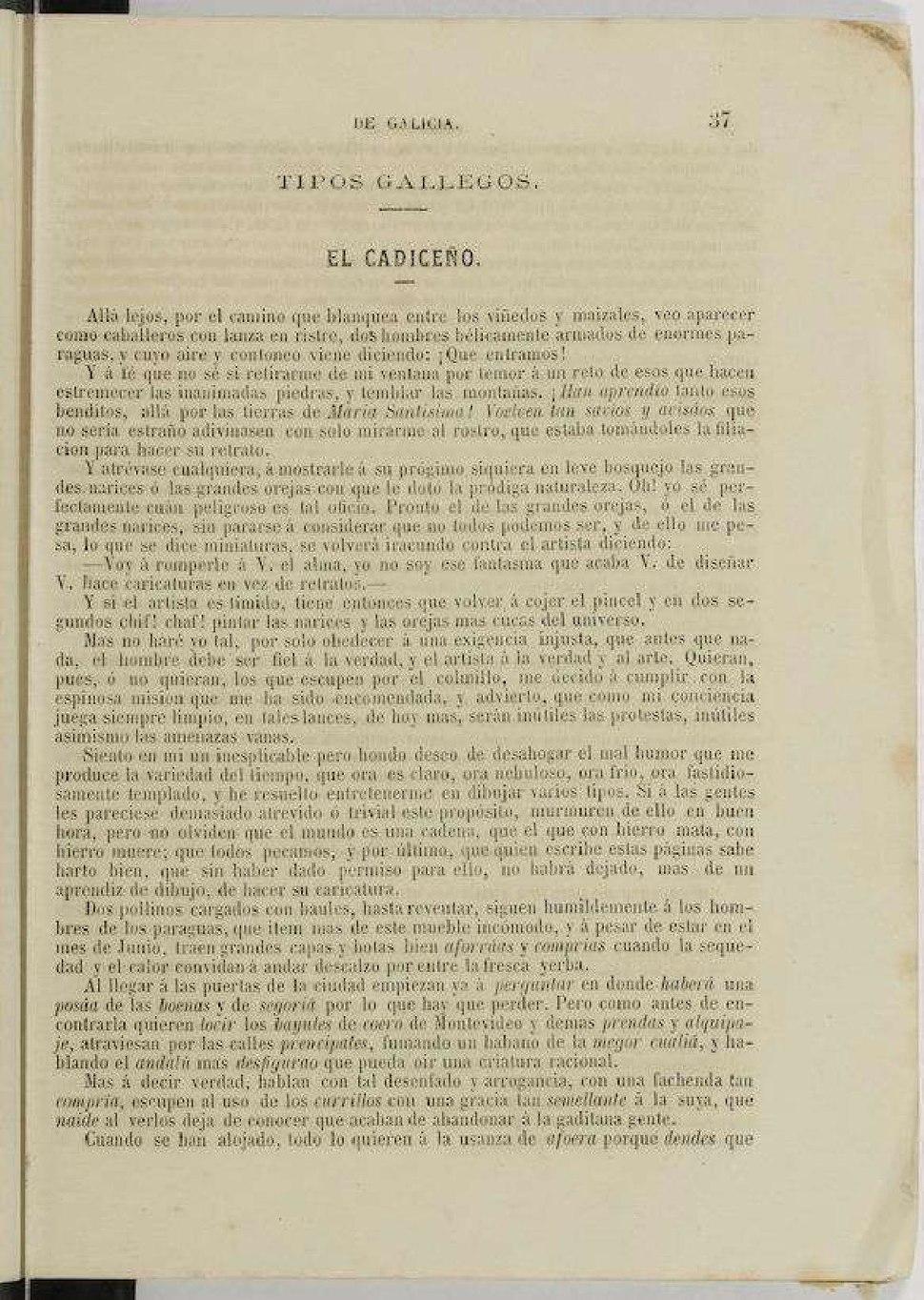 """""""El cadiceño"""", Almanaque de Galicia, 1865, Lugo."""