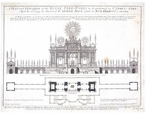 Music for the Royal Fireworks - Machine for the fireworks for the peace of Aix la Chapelle in May 1749 performed in Green Park.  Structure designed by Franco-Italian architect Giovanni Niccolo Servandoni