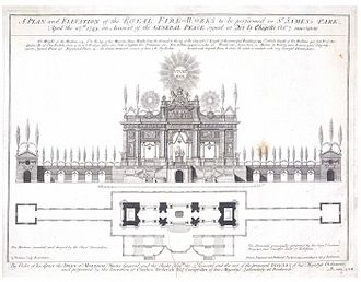 Giovanni Niccolò Servandoni - A 1749 design for fireworks at Green Park, London