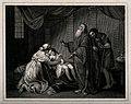 Elijah prays to resuscitate the widow's son (?). Etching. Wellcome V0034994.jpg