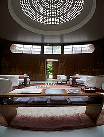 Eltham Palace - interior, composite view of entrance hall.jpg