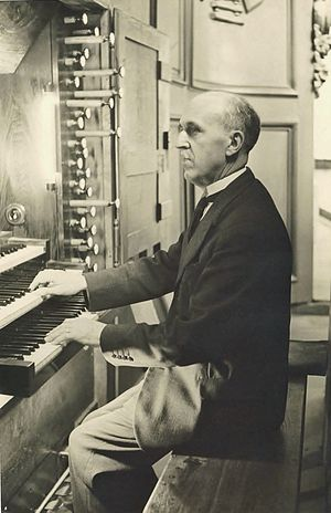Émile Poillot - Émile Poillot at the console of St. Benignus organ, Oct. 2, 1938