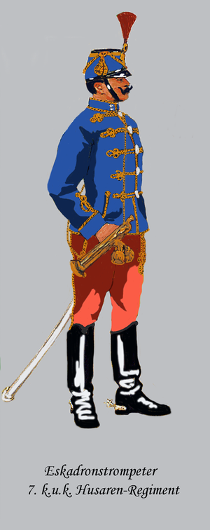 Imperial and Royal Hussars - Bugler, 7th Hussars (wearing a light blue atilla)