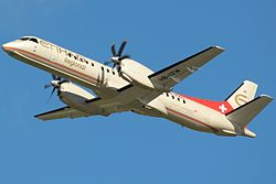 Etihad Saab 2000 take off.jpg