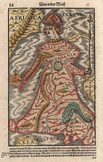 Continental Europe - Europa regina map (Sebastian Munster, 1570), excluding Scandinavia and the British Isles, but including Bulgaria, Scythia, Moscovia and Tartaria; Sicily is clasped by Europe in the form of a Globus cruciger.