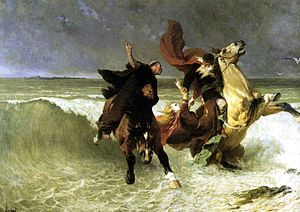 Le roi d'Ys - Flight of King Gradlon (the King of Ys), by Évariste Vital Luminais, 1884.