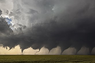 Composite of eight images shot in sequence as a tornado formed in Kansas in 2016 Evolution of a Tornado.jpg
