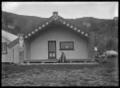 Exterior view of Wairaka Meeting House, Whakatane, showing Urukakengarangi Lawson ATLIB 141320.png