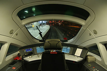 Inside the train driver's cab of a German ICE train Fuhrerstand 411.jpg