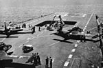 F2H-2 Banshees of VF-62 are launched from USS Coral Sea (CVB-43) in 1952.jpg