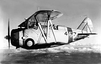 Grumman F3F - An F3F-1 of VF-4 in the late 1930s.