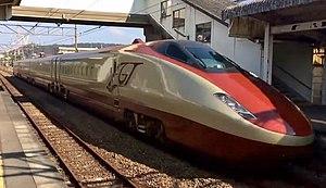 "Variable gauge - The Japanese third-generation GCT ""Gauge Change Train"" EMU on a test run in November 2014"
