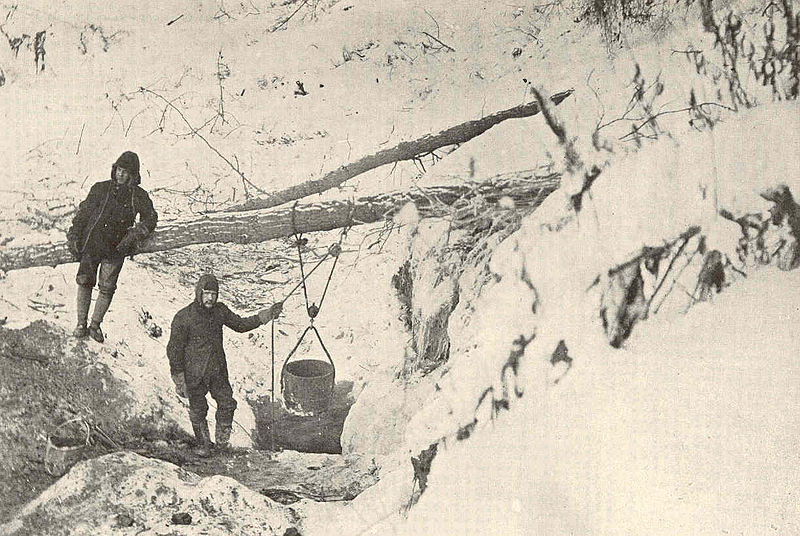 File:FMIB 41400 Prospect hole on the banks of a mineralized stream.jpeg