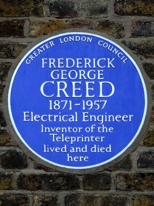 Frederick George Creed blue plaque - Frederick George Creed 1871-1957 electrical engineer, inventor of the teleprinter lived and died here