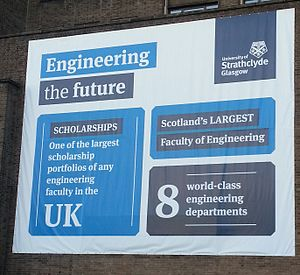 University of Strathclyde Faculty of Engineering - Poster outside of the James-Weir Building.