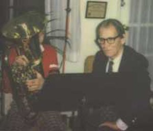 Leonard Falcone - Leonard Falcone at roughly age 80 works with a young euphonium player.
