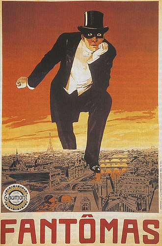 Fantômas - A poster for the first Fantômas serial by Louis Feuillade. In the original illustration for the first Fantômas book cover, the character holds a bloody dagger in his free hand. It was also used for the DVD box cover, but this time Fantômas stamps over a photo of modern-day Paris.