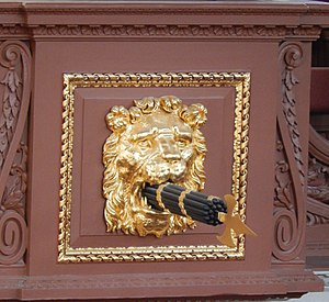 Fasces - Ornamentation consisting of fasces held in the mouth of a lion inside the Sheldonian Theatre at Oxford University