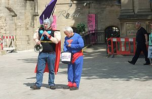 Men's rights movement - Two protestors from UK-based fathers' rights group Fathers 4 Justice protesting in Peterborough in 2010.