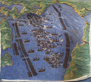 Galley tactics - Contemporary depiction of the battle of Lepanto in 1571 that shows the strict formations of the opposing fleets. Fresco in the Gallery of Maps in Vatican Museum.