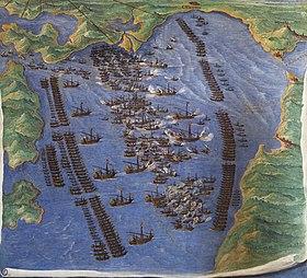 Η «Ναυμαχία της Ναυπάκτου Πίνακας του Φερνάντο Μπερτέλι (550Χ500), Ναυτικό Μουσείο Βενετίας