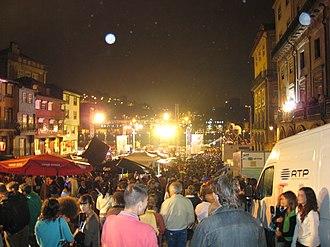 Festa de São João do Porto - The Praça da Ribeira, in Porto, during São João