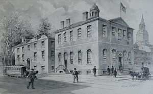 Philosophical Hall - Philosophical Hall, Philadelphia, to the left in a watercolor from 1919