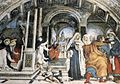 Filippino Lippi, Carafa Chapel, Right wall 02, Miracle of St Thomas Aquinas.jpg