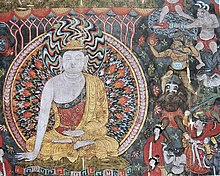 A painting of a Buddha, with several smaller figures to the right. One of the figures in the center right is holding a green-brown sphere that is on fire, believed to be a representation of a grenade. Another figure, this one in the upper right, holds a fire lance, a silver cylinder with fire coming out of one end and either a rope or a wooden stick coming out of the other.
